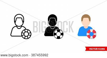 Rescue Lifesaver Icon Of 3 Types Color, Black And White, Outline. Isolated Vector Sign Symbol.