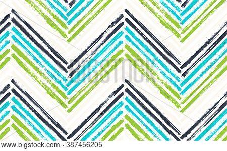 Scrapbook Chevron Interior Print Vector Seamless Pattern. Paint Brush Stroke Geometric Stripes. Hand