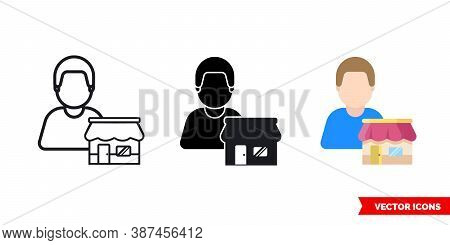 Seller Vendor Marketer Icon Of 3 Types Color, Black And White, Outline. Isolated Vector Sign Symbol.