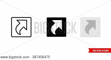 Shortcut Icon Of 3 Types Color, Black And White, Outline. Isolated Vector Sign Symbol.