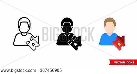 Spectator Viewer Icon Of 3 Types Color, Black And White, Outline. Isolated Vector Sign Symbol.