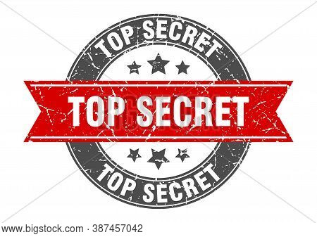 Top Secret Round Stamp With Red Ribbon. Top Secret