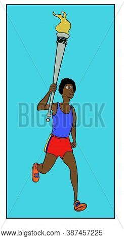 Color Cartoon Of An African-american Woman Running And Carrying An Olympic Torch.
