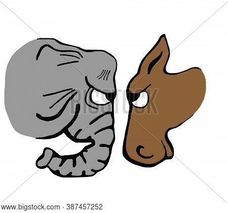 An Angry Looking Donkey Faces Down An Angry Looking Elephant