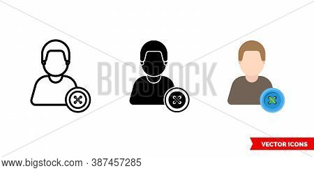 Tailor Clothier Icon Of 3 Types Color, Black And White, Outline. Isolated Vector Sign Symbol.