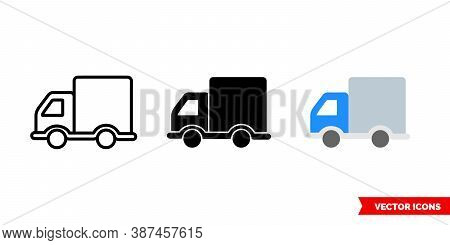 Truck Lorry Icon Of 3 Types Color, Black And White, Outline. Isolated Vector Sign Symbol.