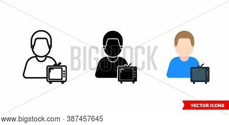 Viewer Spectator Icon Of 3 Types Color, Black And White, Outline. Isolated Vector Sign Symbol.