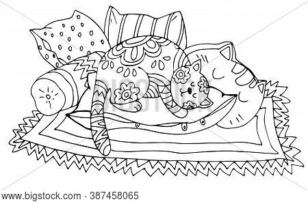 Coloring Book, Sleeping Cat On Pillows And Carpet, Black And White Contour Drawing By Hand