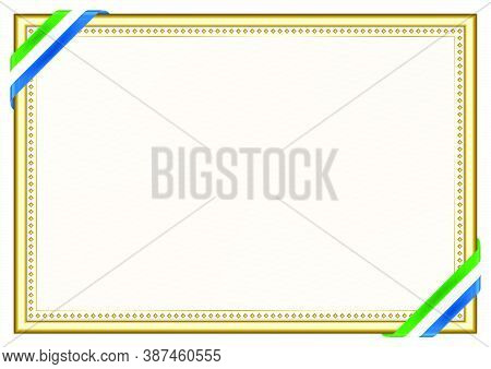 Horizontal  Frame And Border With Sierra Leone Flag, Template Elements For Your Certificate And Dipl