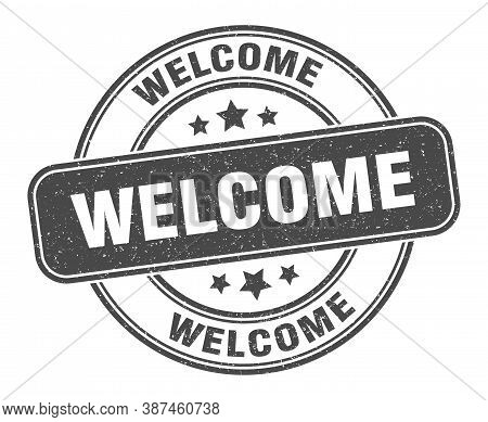Welcome Stamp. Welcome Label. Round Grunge Sign