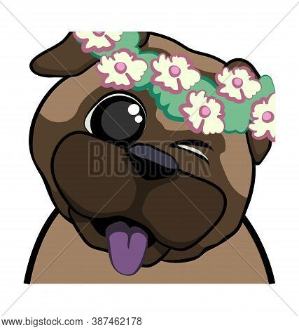 Cute Pug Dog Winking With Flower Crown - Hi Emote - Vector Emoticon Isolated