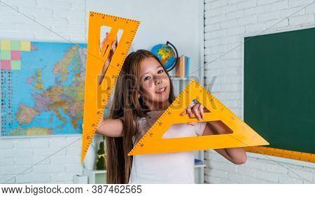 Geometry Set. Back To School. Formal Education In Modern Life. Home Schooling Concept. Childhood Dev