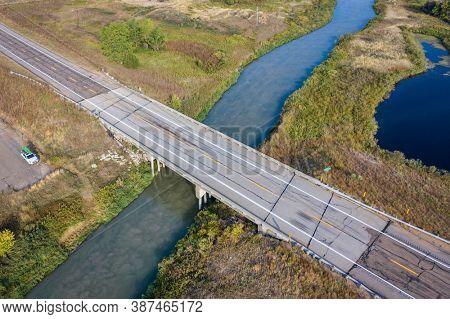 highway and  bridge over South Loup River in Nebraska Sandhills, aerial view