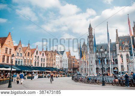 BRUGES, BELGIUM - April 13, 2018: Market Square, Bruges in Bruges, Belgium