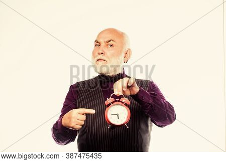 Time And Age. Timekeeping. Retirement. Watchmaker Or Watch Repairer. Mature Man With Beard Clock Sho