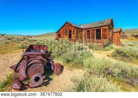 United States Of America Bodie State Historic Park. A Californian Ghost Town With Rusty Wreck Of The