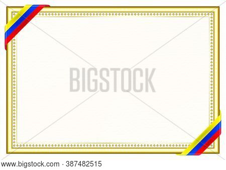 Horizontal  Frame And Border With Ecuador Flag, Template Elements For Your Certificate And Diploma.