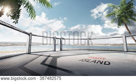 3d Mma Arena. Fight Island. Fighting Championship. Location Of The Mma Tournament On The Yas Island