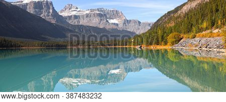 Panoramic view of scenic Bow lake landscape  in Rural Alberts