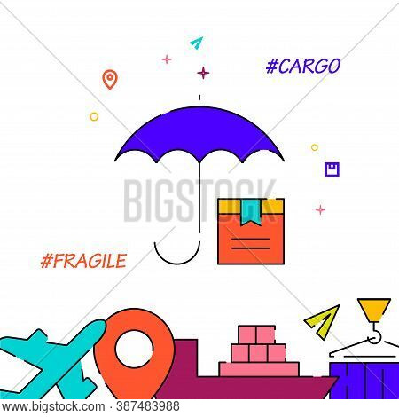 Delivery Of Fragile Goods Filled Line Vector Icon, Simple Illustration, Cargo And Shipping Related B