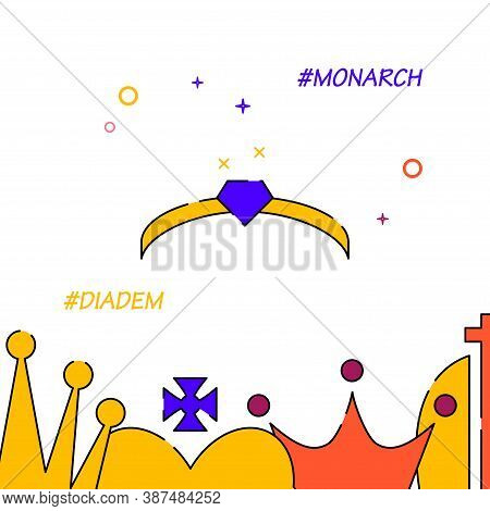 Royal Crown, Diadem Filled Line Vector Icon, Simple Illustration, Royal Crown Related Bottom Border.