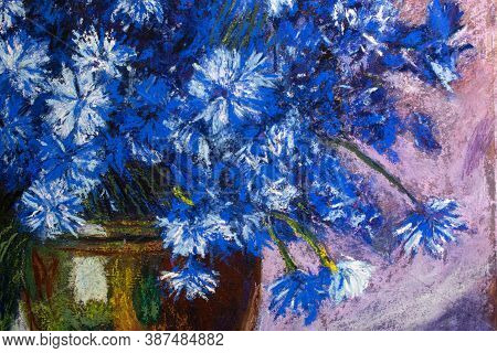 Blue Flowers In A Vase . Drawing With Pastels On Paper. Still Life Of Flowers Cornflowers . Based On