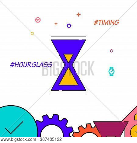 Hourglass, Sandglass Filled Line Vector Icon, Simple Illustration, Clock, Time Related Bottom Border