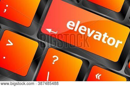 Elevator Button On Computer Pc Keyboard Key