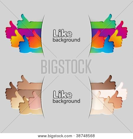 Like and Thumbs Up symbol. Abstract background.  Vector illustration.