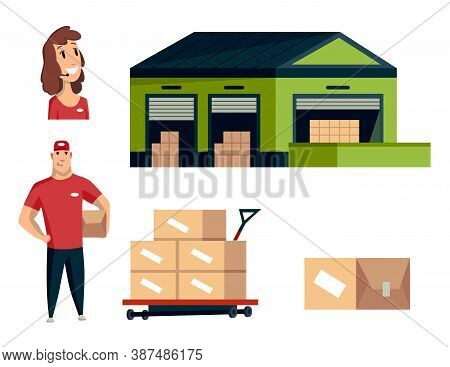 Warehouse. Logistics Illustrations Collection. Warehouse Center, Operator, Workers. Modern Flat Styl