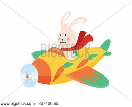 Cute Rabbit Flying An Airplane With Scarf Fluttering. Funny Pilot Flying On Planes. Cartoon Vector I