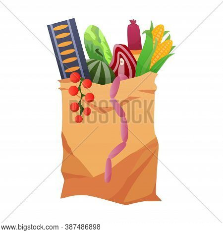 Paper Shopping Bag Products Grocery. Different Food And Beverage Products, Grocery Shopping. Grocery