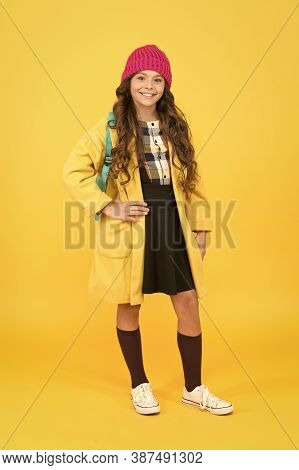 See You Through School Time In Style. Happy Small Girl Enjoy Fashion Style. Little Child Smile With