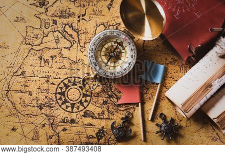 Happy Columbus Day Concept. Vintage American Flag With Compass And Retro Treasure Manuscript.  Flat