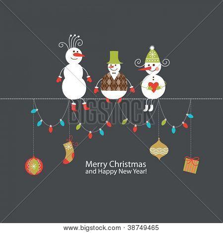 Greeting card, Christmas card with cute snowmen