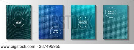 Minimal Circle Screen Tone Gradation Cover Page Templates Vector Series. Geometric Banner Faded Scre