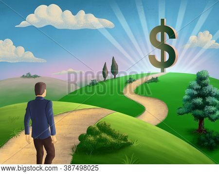 Businessman walking on a path leading to a giant dollar symbol. 3D illustration.