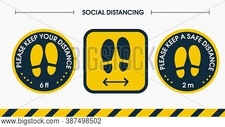 Install A Social Distance Floor Sticker. Please Keep A Distance Of 6 Feet And 2 Meters. Place The St