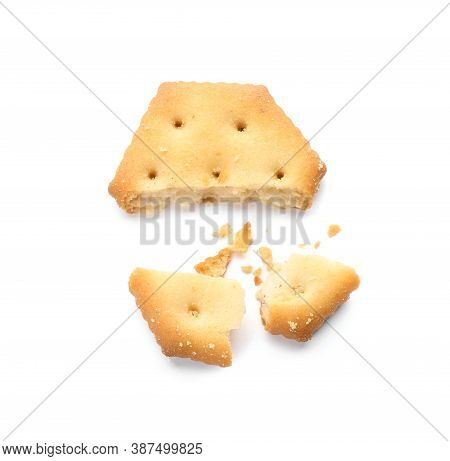 Broken Delicious Crispy Cracker Isolated On White, Top View