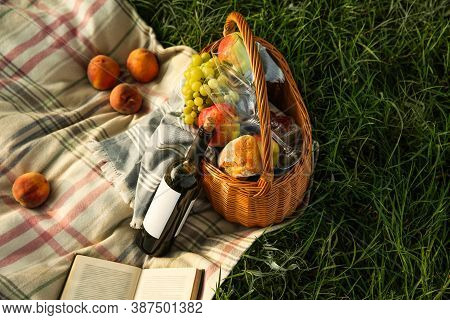 Picnic Blanket With Delicious Food And Wine On Green Grass, Above View