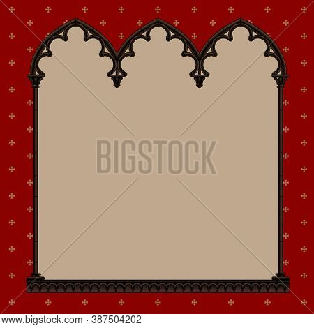 Engraved vintage color drawing of classical gothic architectural decorative frame on red background with crosses