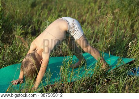 Boy Kid Doing Yoga On Mat Standing In Downward Facing Dog Exercise, Adho Mukha Svanasana Pose Outdoo