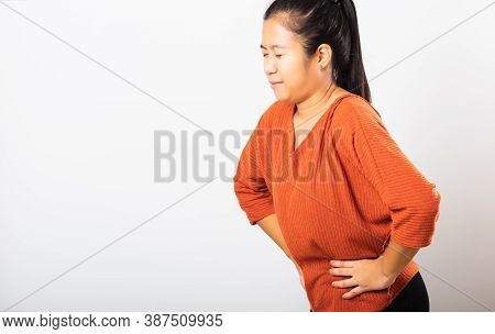 Asian Woman She Sick Have Stomach Ache Holds Hands On Abdomen, Part Of Body, Female Having Painful S