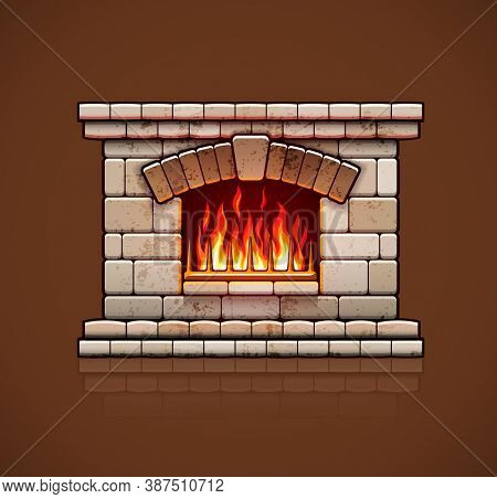 Stone bricks home fireplace, christmas hearth with burning fire for house heating, warm. 3D illustration.