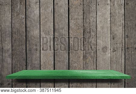 Green Display Wooden Board Shelf Table Counter With Copy Space For Advertising Backdrop And Backgrou