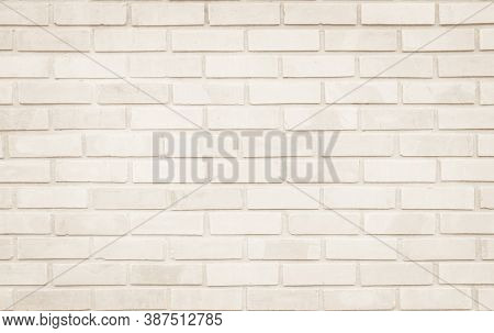 Empty Background Of Wide Cream Brick Wall Texture. Old Brown Brick Wall Concrete Or Stone Pattern Na