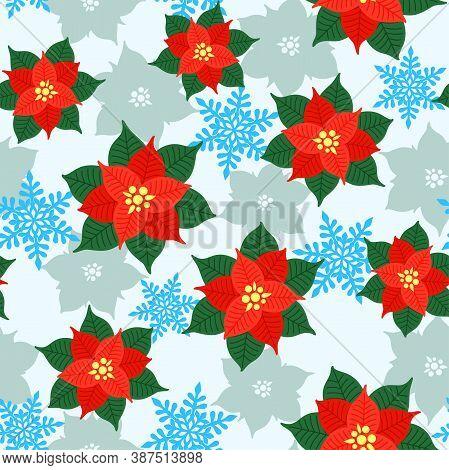 Colorful Red And Green Poinsettia And Blue Snowflakes On A Light Background. Vector Seamless Pattern