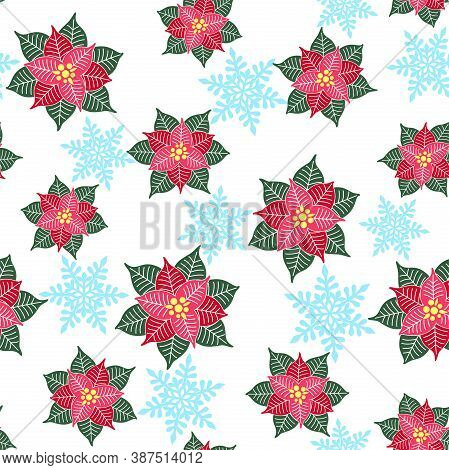Abstract Poinsettia Flowers And Blue Openwork Snowflakes On A White Background. Vector Seamless Patt
