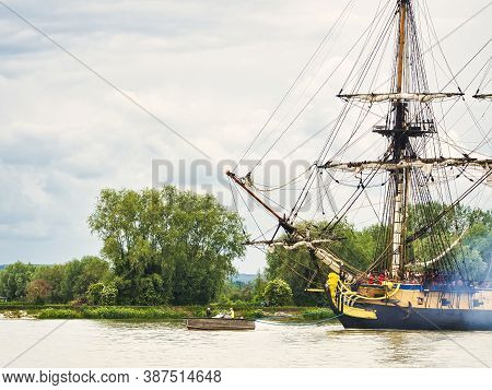 Rives En Seine, France - June 5, 2019. Hermione Sailing French Very Old Boat On The River Seine, Jus