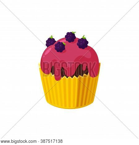Cupcake With Blackberry And Red Icing. Fairy Cake In Paper Cup. Tasty Dessert With Colored Frosting.